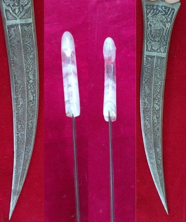 A 19th Century Khanjar or Jambiya Dagger. Grip of Rock Crystal. Ref 3301